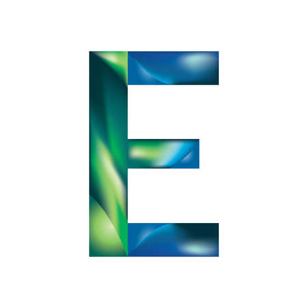 The letter E is in blue-green color. Eps.8 Illustration