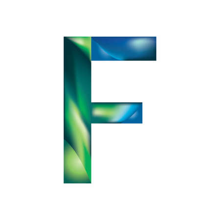 letter F in blue green color illustration