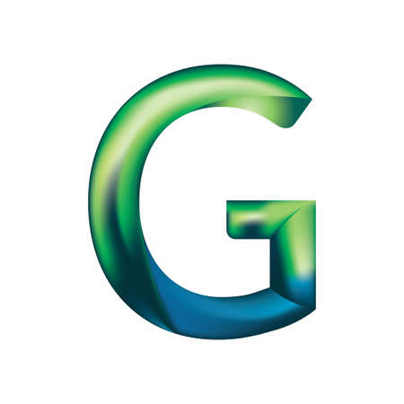 The letter G is in blue-green color. Illustration
