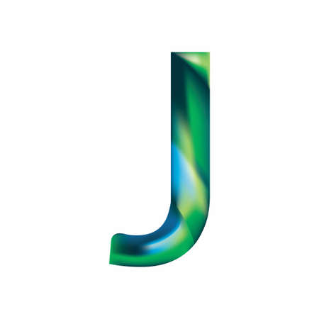 letter J  in blue-green color. Eps.8 Vector illustration.