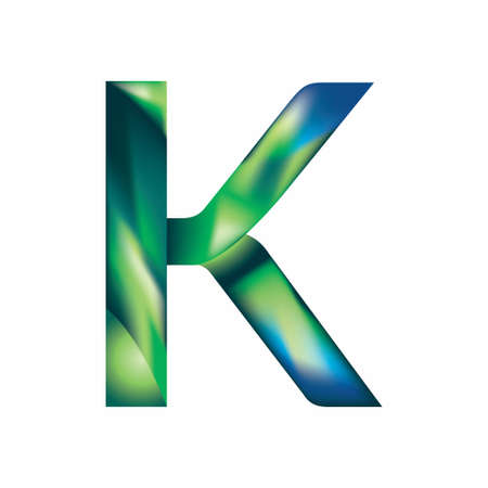 letter K in blue green color image illustration
