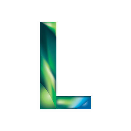 letter L  in blue-green color. Eps.8 Vector illustration. Illustration