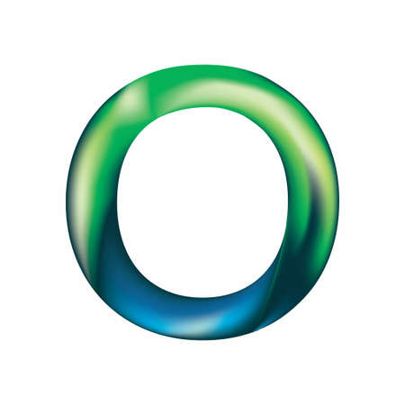 The letter O is in blue-green color. Eps.8 Illustration