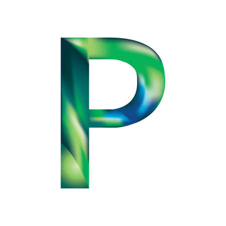 The letter P is in blue-green color. Eps.8