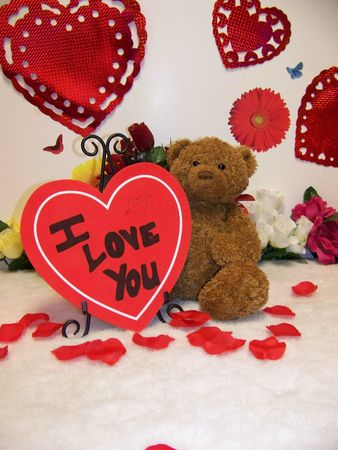 valentines day teddy bear with hearts and flowers and I love you sign Stock Photo - 2474647