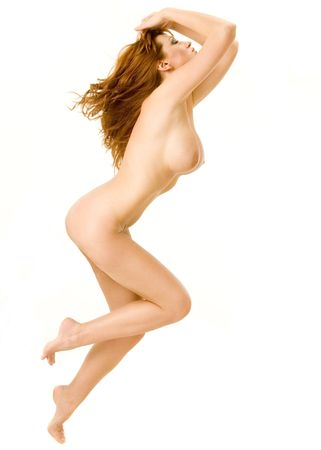 naked woman breasts: A beautiful redheaded nude woman running