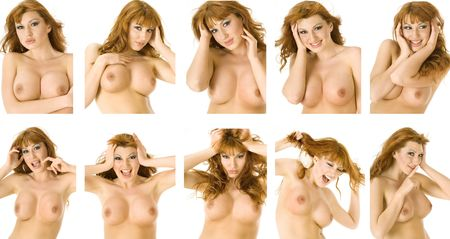 A beautiful topless redheaded woman runs through a range of emotions Stock Photo - 1118267