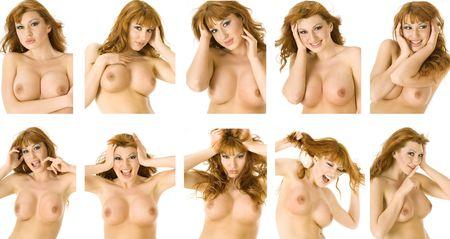 tetas: Un topless hermoso redheaded funcionamientos de la mujer a trav�s de una gama de emociones Foto de archivo