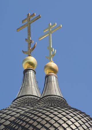 spiritualist: The Russian Orthodox crosses on Alexander Nevsky Church in Tallinn, Estonia