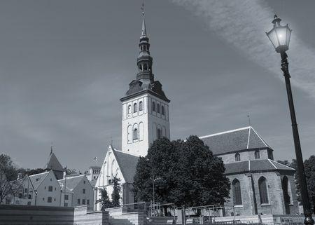 The Niguliste Church in Tallinn, Estonia in a monochrome treatment