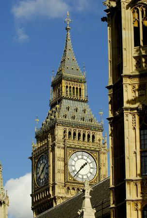 A view of the Big Ben Tower in the Houses of Parliament, London, England Stock Photo