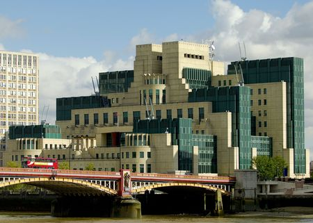 double cross: A view of the MI6 intelligence agency headquarters across the Thames in London, England