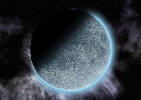 A moon like planet in a dark sky and partial eclipse