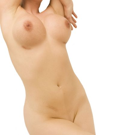 A beautiful nude woman showing her breast implant and appendectomy scars Stock Photo - 1268556