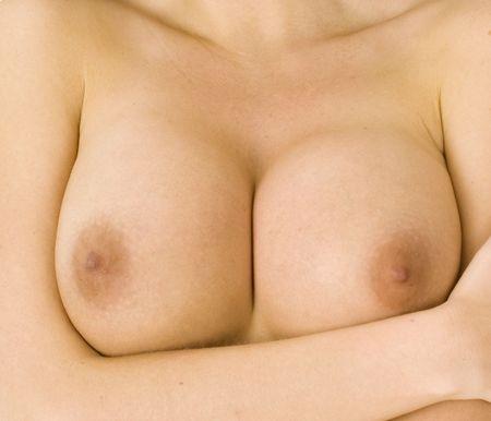 pechos: hermoso par de grandes senos desnudos femeninos  Foto de archivo
