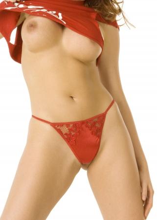 tetas: Hermoso redheaded a mujer que le demostraba los pechos Foto de archivo