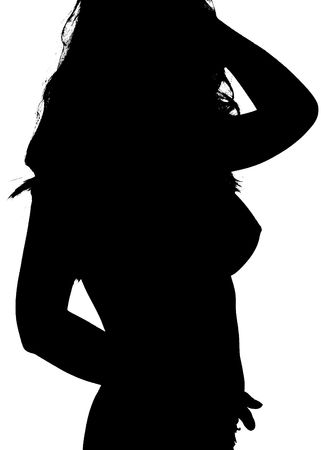 Beautiful anonymous  woman in black on white silhouette