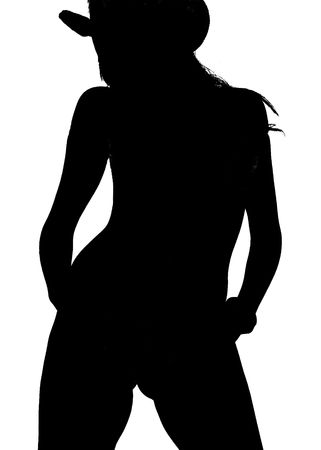 Beautiful anonymous  woman in black on white silhouette in cowboy hat Stock Photo - 2427472