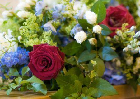 Beautiful flower arrangement at a wedding
