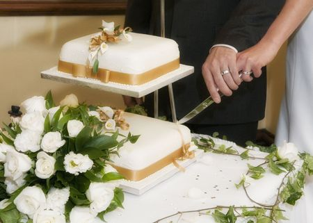Bride and Groom cutting their wedding cake Stock Photo - 4130723