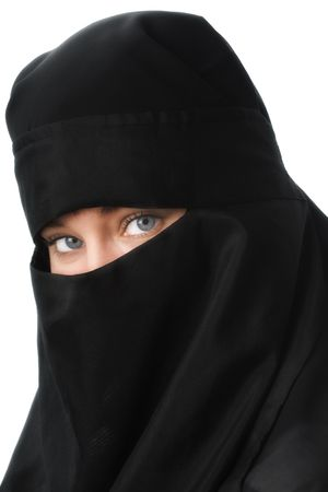 burka: Beautiful blue eyed woman in Middle Eastern veil