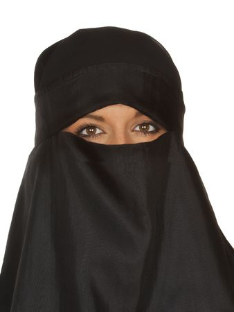 burqa: Beautiful Middle eastern woman in niqab traditional veil against a white background