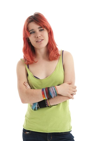 Beautiful young redheaded woman looking pensive and relaxed Stock Photo