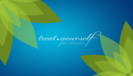 yourself: High resolution promotional Treat Yourself gift certificate grahic with floral elements.