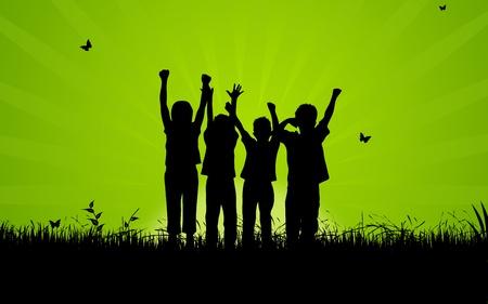 Hoge resolutie afbeelding van gelukkig, kinderen springen.