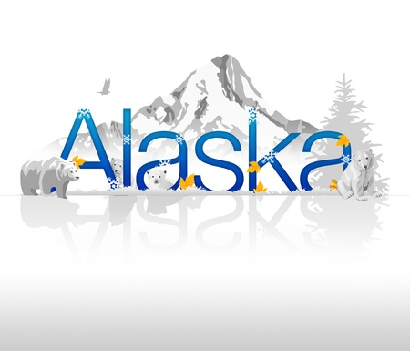 anchorage: High resolutions Alaska graphic with nature elements. Stock Photo