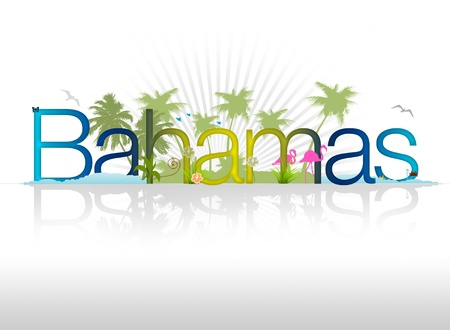 High resolution Bahamas graphic with tropical elements.