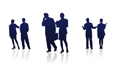 High Resolution graphic of business people silhouettes.