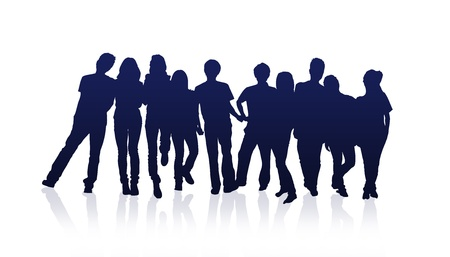 study group: High resolution graphic of a happy group of friends.  Stock Photo