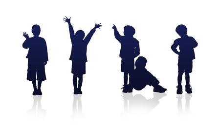 kind silhouet: Afbeelding met hoge resolutie van kinderen silhouetten.