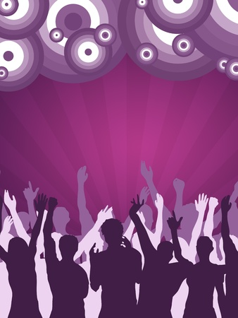 High resolution graphic of a large crowd at a nightclub cheering and dancing. photo