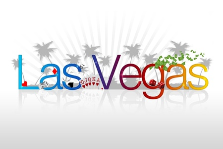 las vegas sign: High Resolution graphic of Las Vegas with Casino Elements.