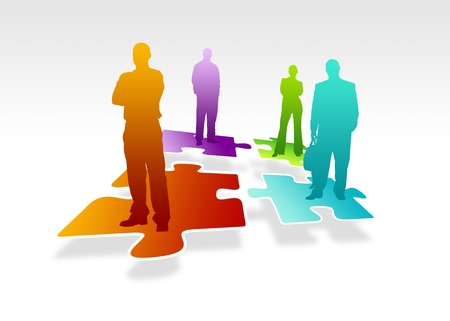 employment issues: High resolution business team graphic standing on colorful puzzle pieces.  Stock Photo