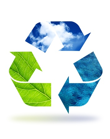 High resolution recycle graphic displaying earth elements.  Stock Photo - 8669166