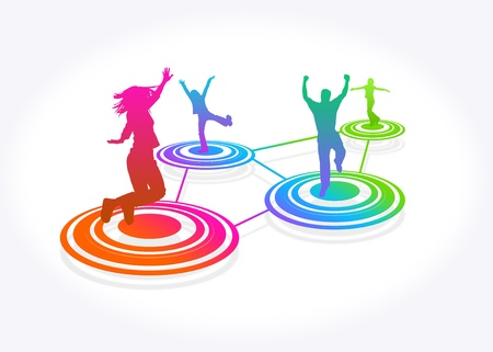 High resolution graphic of people jumping on colorful circles.