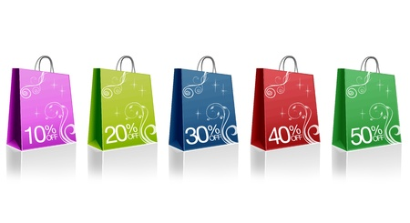 outlet: High resolution graphic of colored discount shopping bags.