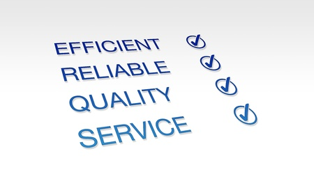 High resolution graphic of Efficient, Reliable, Quality Service with check marks. photo