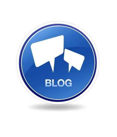 High resolution graphic of a blog icon with speech bubbles.  Stock Photo