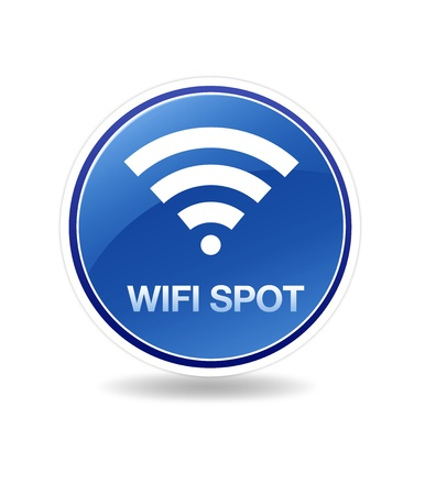 wifi sign: High resolution icon of wifi wireless spot.  Stock Photo