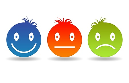 feeling sad: High resolution graphic of three different smiley faces.