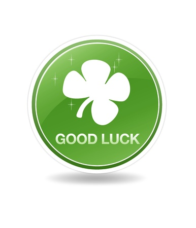High resolution green good luck icon with a clover plant. photo