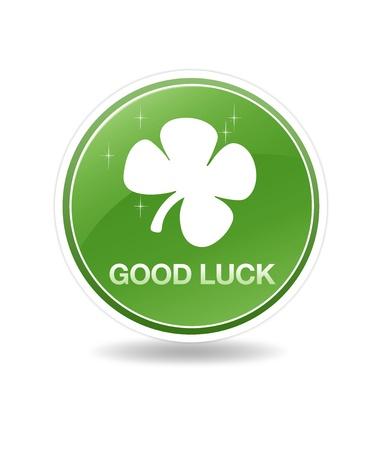 in bocca al lupo: Icona verde buona fortuna ad alta risoluzione con una pianta di trifoglio.