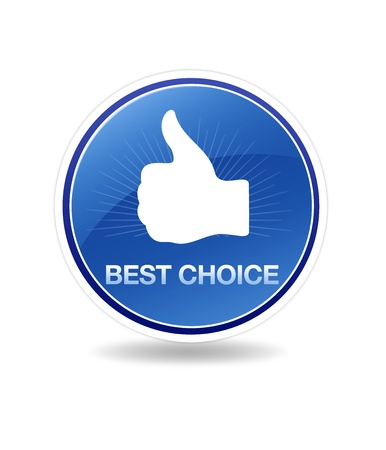 best: High resolution best choice icon with thumbs up.