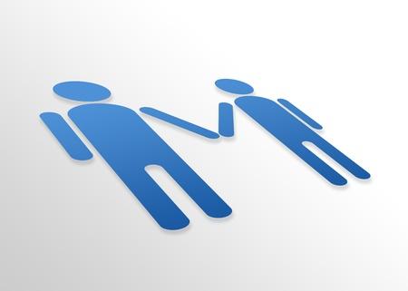 discreto: Gráfico de perspectiva de alta resolución de una pareja homosexual.