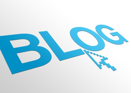 discussion forum: High resolution perspective graphic of a blog sign with mouse pointer. Stock Photo