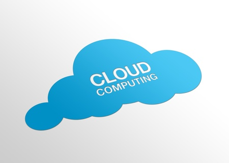 infrastructure: High resolution perspective graphic of a cloud and the words cloud computing. Stock Photo